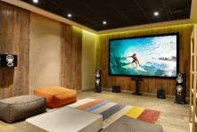 Home theater with surround sound.