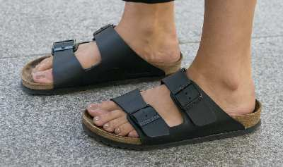 Birkenstocks, popular German-made sandal shoes.