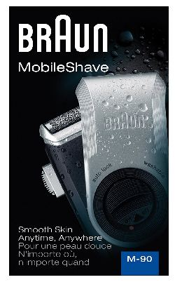 Braun M90 Mobile Shaver for Precision Trimming, Great for Travel, Black/Silver; ASIN: B002TQ4AO0