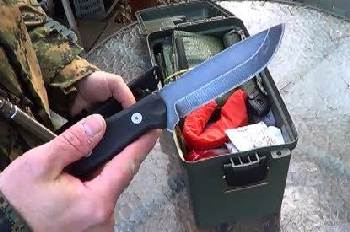 Bug-out supplies with survival knife