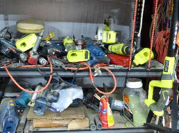 You will find the Ryobi lime green throughout our workshops.