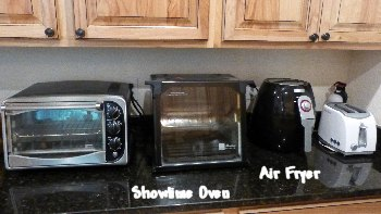 Kitchen counter with Showtime oven and Air Fryer