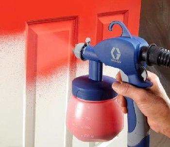 Professional paint sprayer makes dripless finish