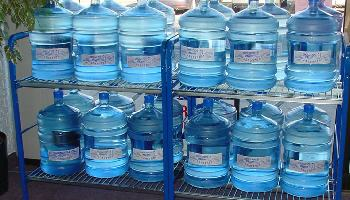 Survival water stored in sealed jugs
