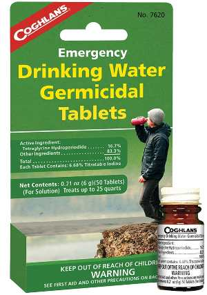 Emergency drinking water tablets.