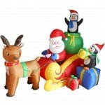 Santa on sleigh Christmas yard inflatables