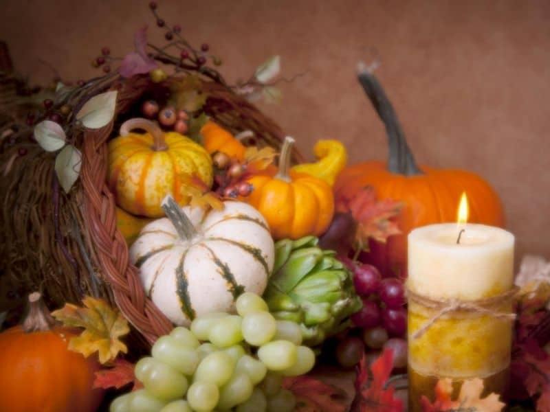 Cornucopia centerpiece  wiht candle