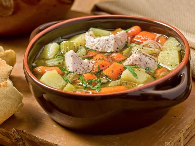 Turkey soup made with leftovers