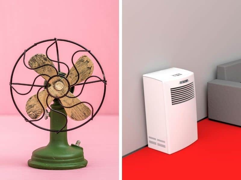 Old fan and a modern air purifier