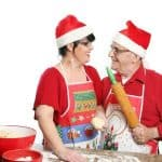 Couple decked out in Christmas outfits