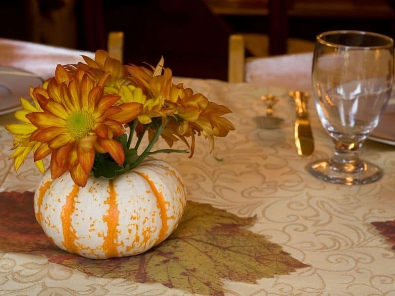 Pumpkin decoration for the Thanksgiving dinner table